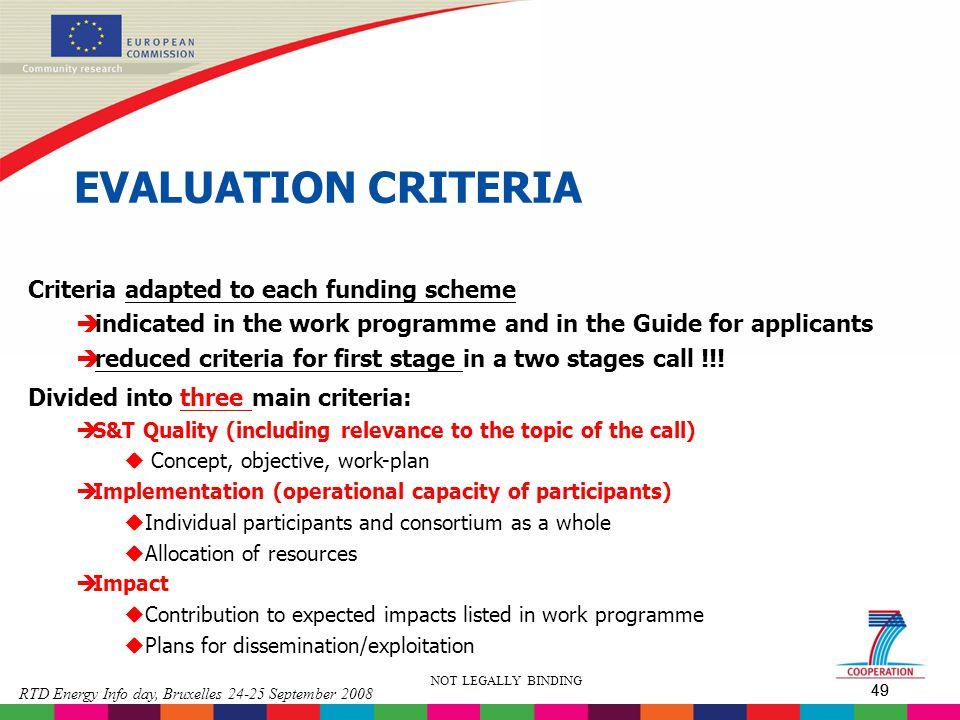 EVALUATION CRITERIA Criteria adapted to each funding scheme