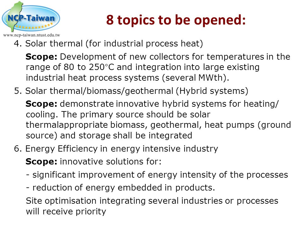 8 topics to be opened: 4. Solar thermal (for industrial process heat)