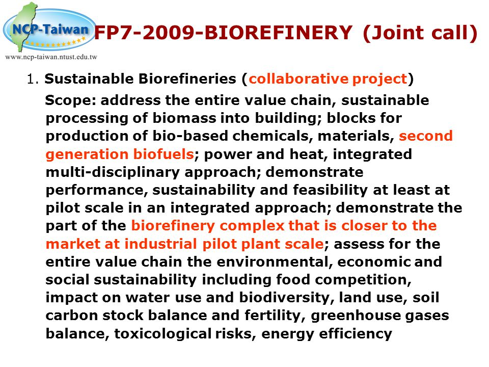 FP7-2009-BIOREFINERY (Joint call)