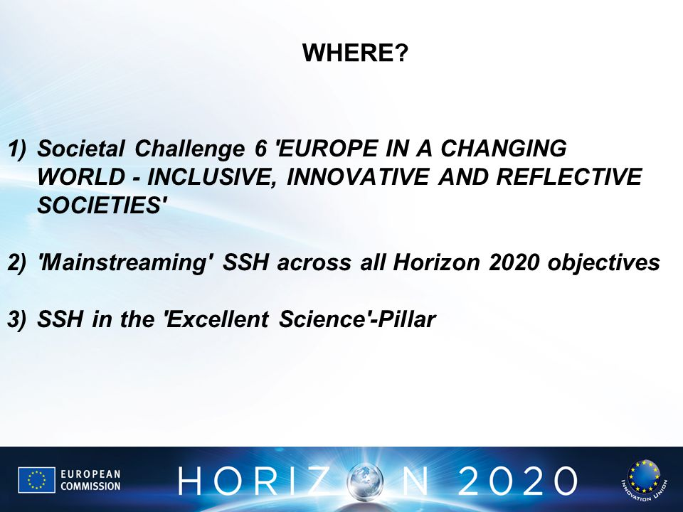WHERE Societal Challenge 6 EUROPE IN A CHANGING WORLD - INCLUSIVE, INNOVATIVE AND REFLECTIVE SOCIETIES