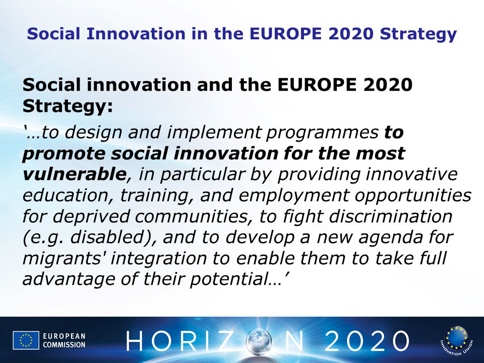 Social Innovation in the EUROPE 2020 Strategy