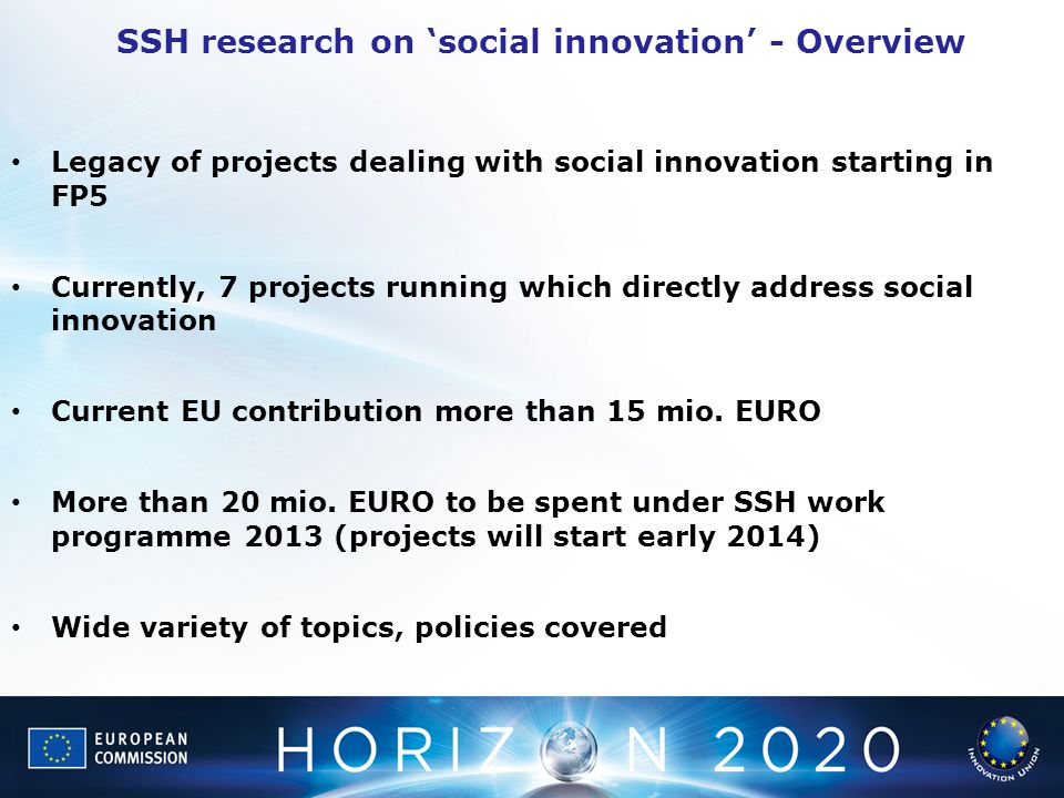 SSH research on 'social innovation' - Overview