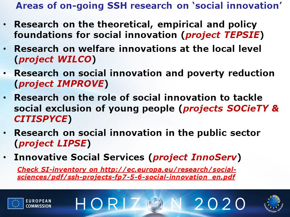 Areas of on-going SSH research on 'social innovation'