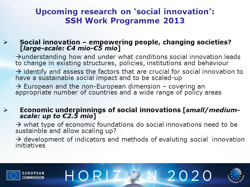 Upcoming research on 'social innovation': SSH Work Programme 2013