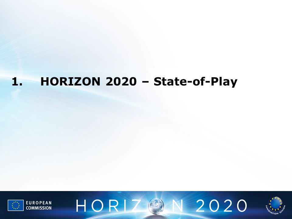 1. HORIZON 2020 – State-of-Play