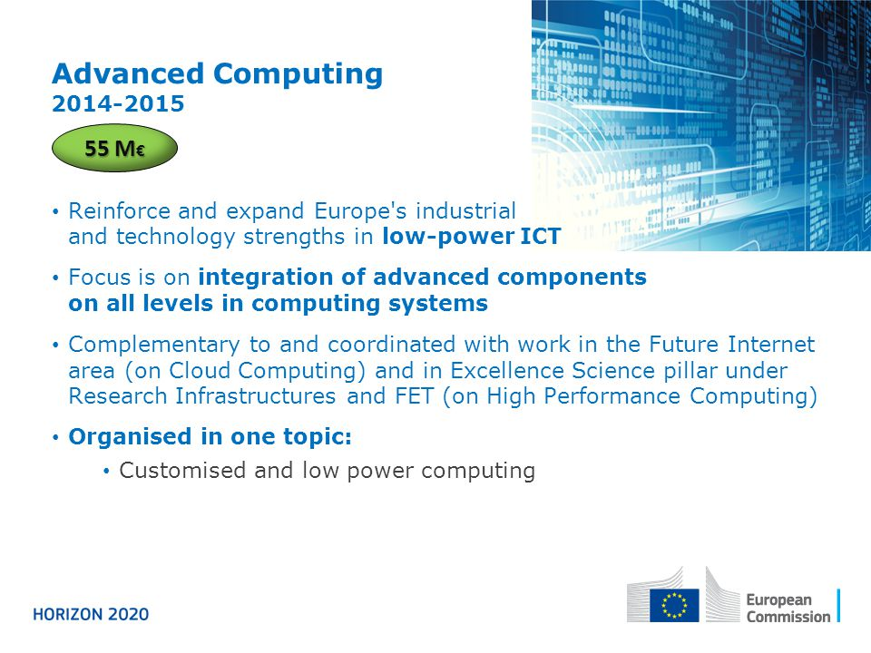 Advanced Computing 2014-2015 55 M€