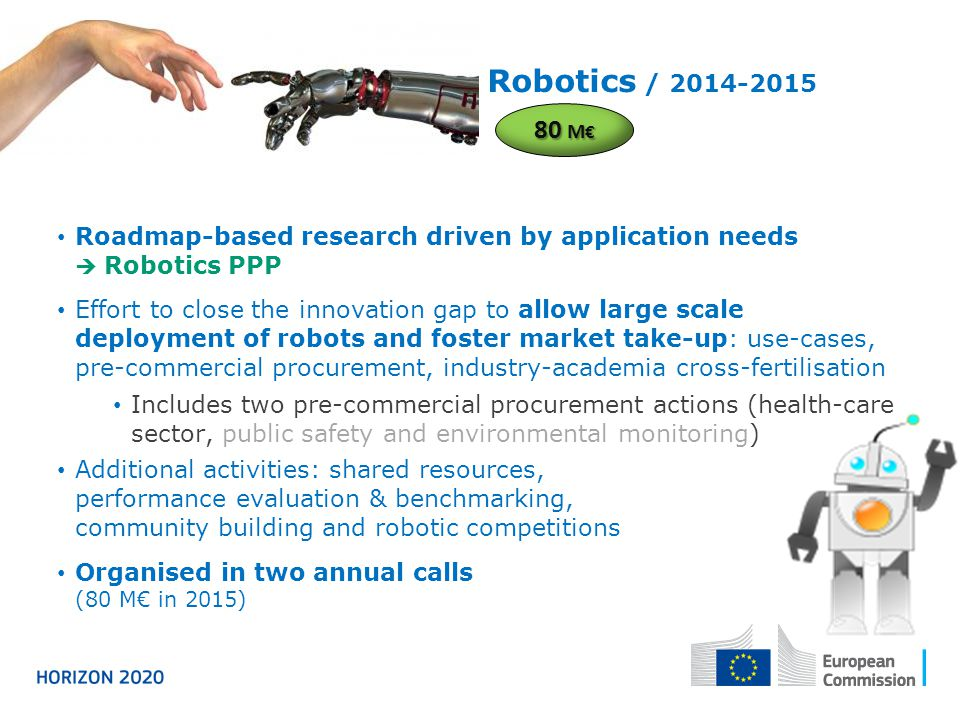 Robotics / 2014-2015 80 M€ Roadmap-based research driven by application needs  Robotics PPP.