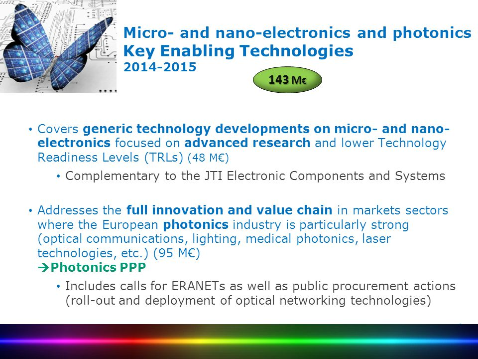 Micro- and nano-electronics and photonics Key Enabling Technologies 2014-2015