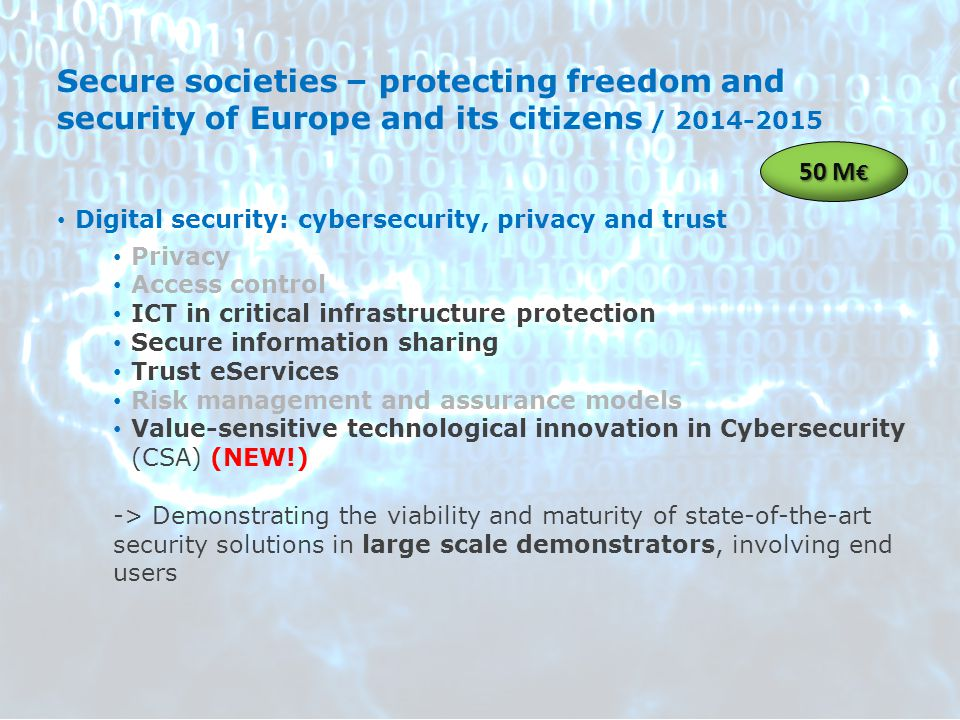 Secure societies – protecting freedom and security of Europe and its citizens / 2014-2015