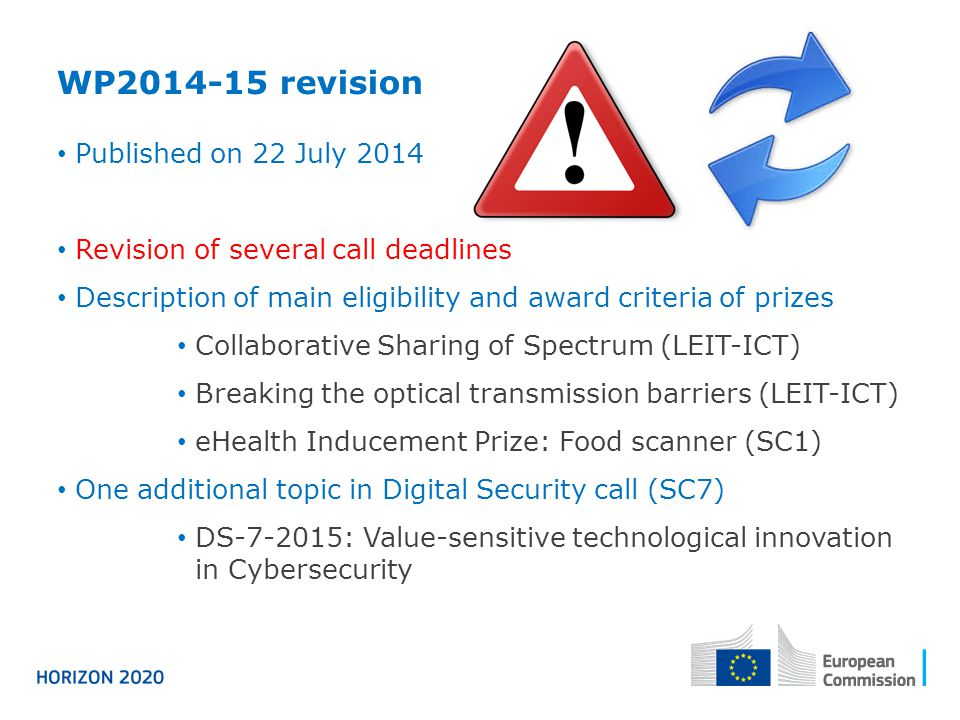 WP2014-15 revision Published on 22 July 2014