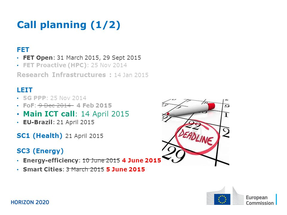 Call planning (1/2) Main ICT call: 14 April 2015 FET