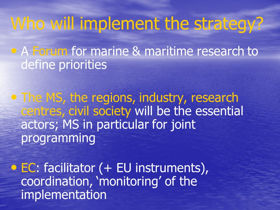 Who will implement the strategy