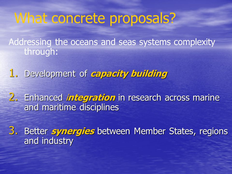 What concrete proposals