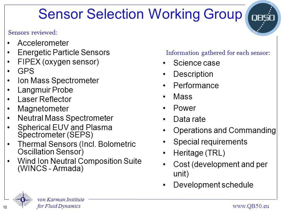 Sensor Selection Working Group
