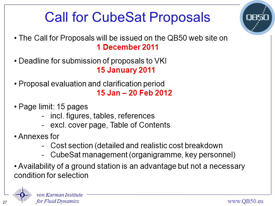 Call for CubeSat Proposals