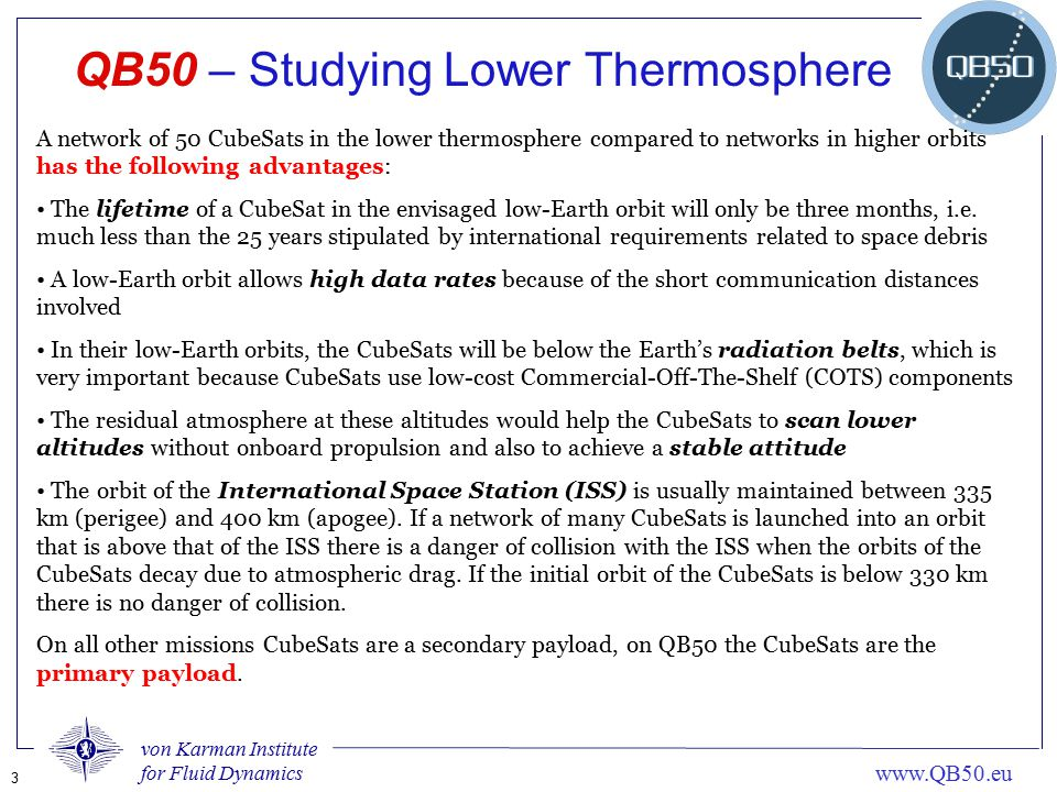 QB50 – Studying Lower Thermosphere
