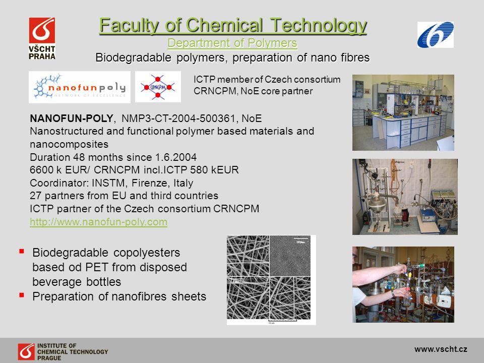 Faculty of Chemical Technology Department of Polymers Biodegradable polymers, preparation of nano fibres