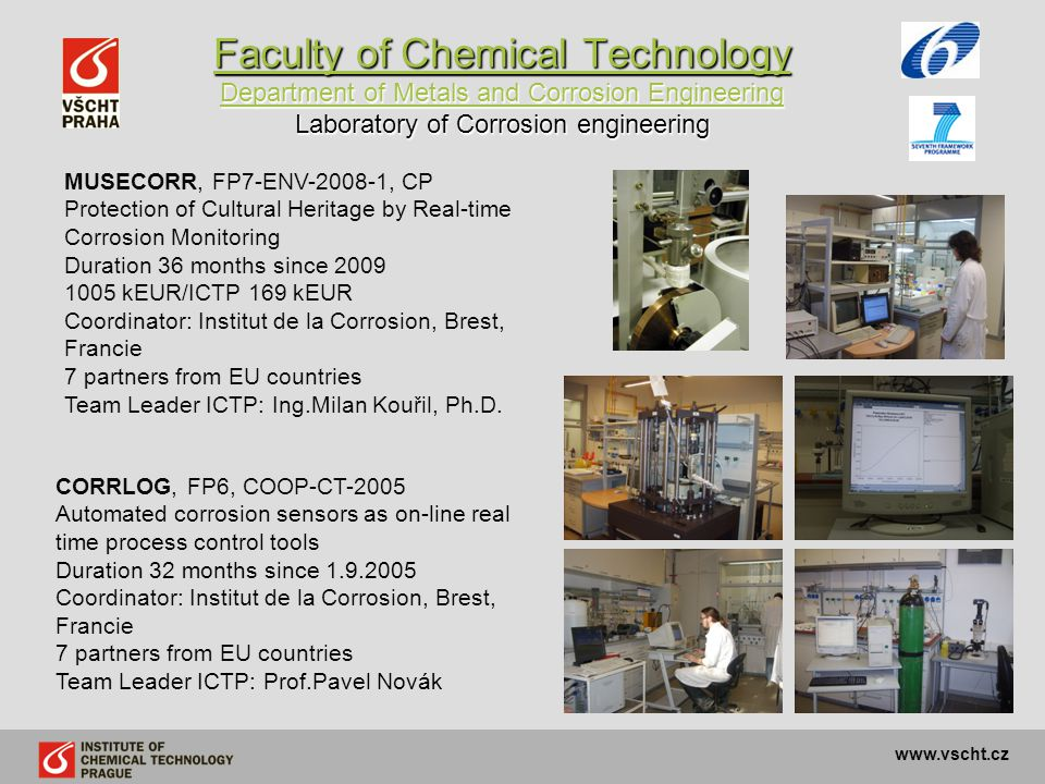 Faculty of Chemical Technology Department of Metals and Corrosion Engineering Laboratory of Corrosion engineering