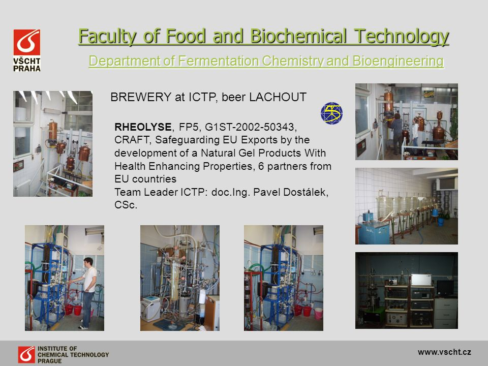 Faculty of Food and Biochemical Technology Department of Fermentation Chemistry and Bioengineering