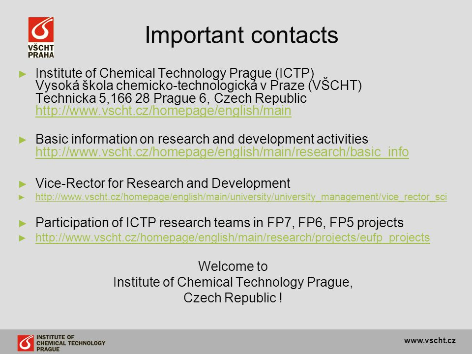Institute of Chemical Technology Prague,