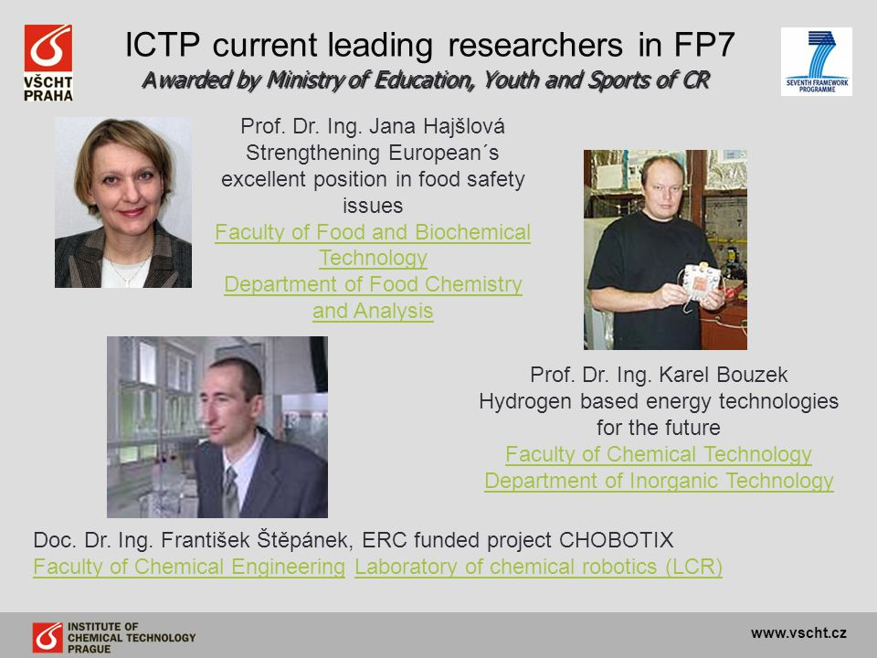 ICTP current leading researchers in FP7 Awarded by Ministry of Education, Youth and Sports of CR