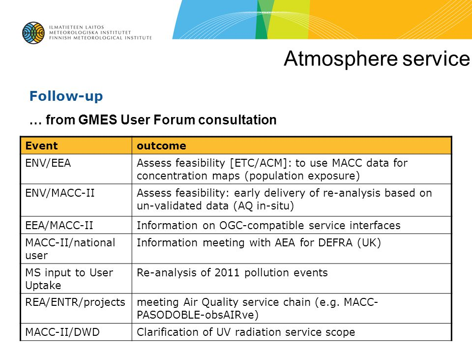 Atmosphere service Follow-up … from GMES User Forum consultation Event