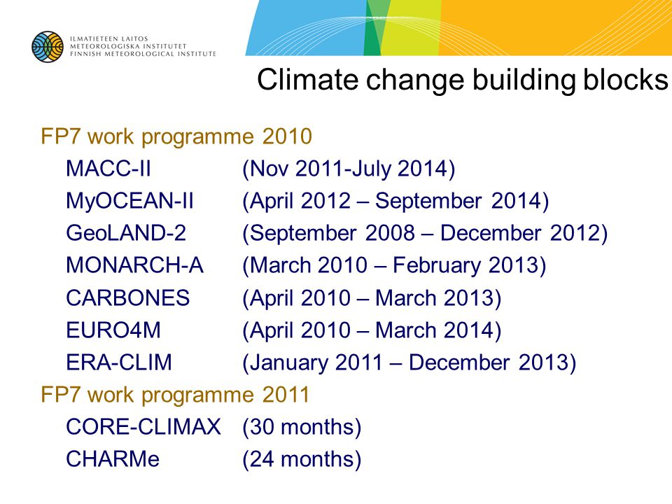 Climate change building blocks