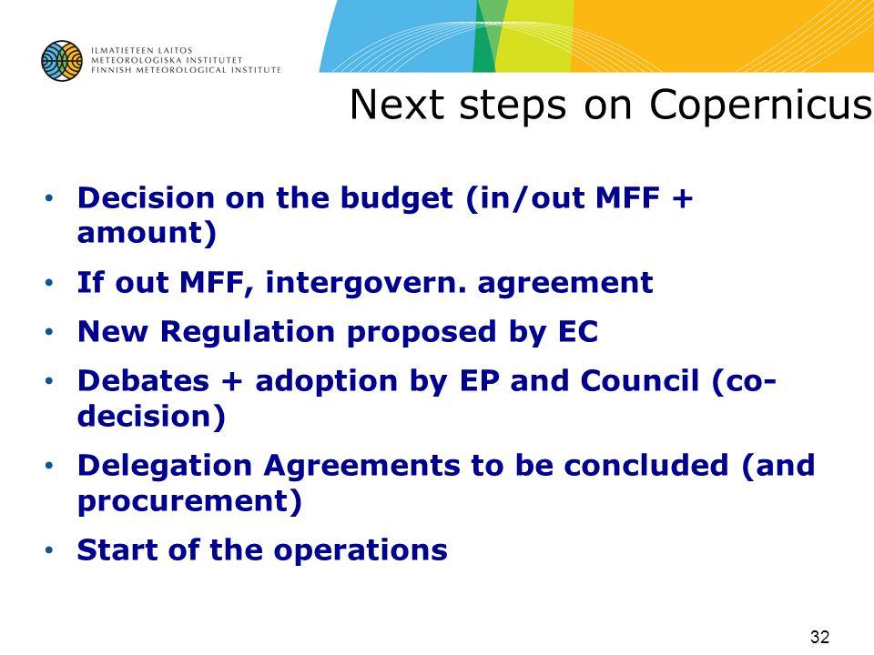 Next steps on Copernicus