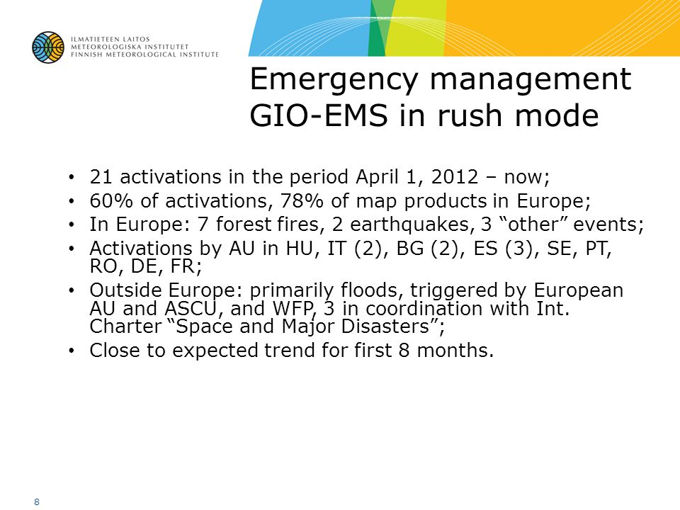 Emergency management GIO-EMS in rush mode