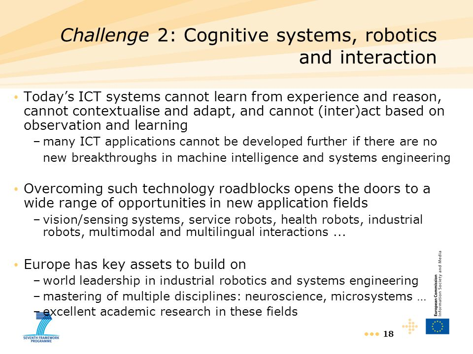 Challenge 2: Cognitive systems, robotics and interaction