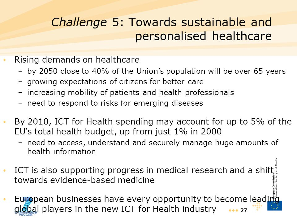 Challenge 5: Towards sustainable and personalised healthcare