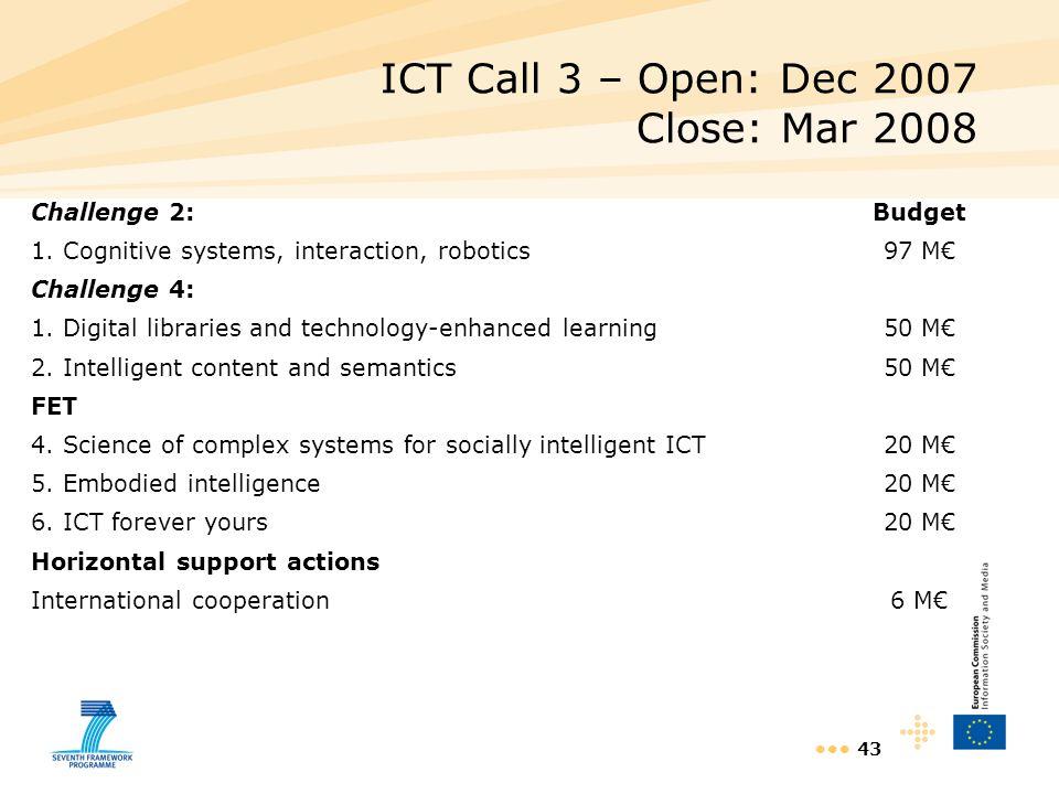 ICT Call 3 – Open: Dec 2007 Close: Mar 2008