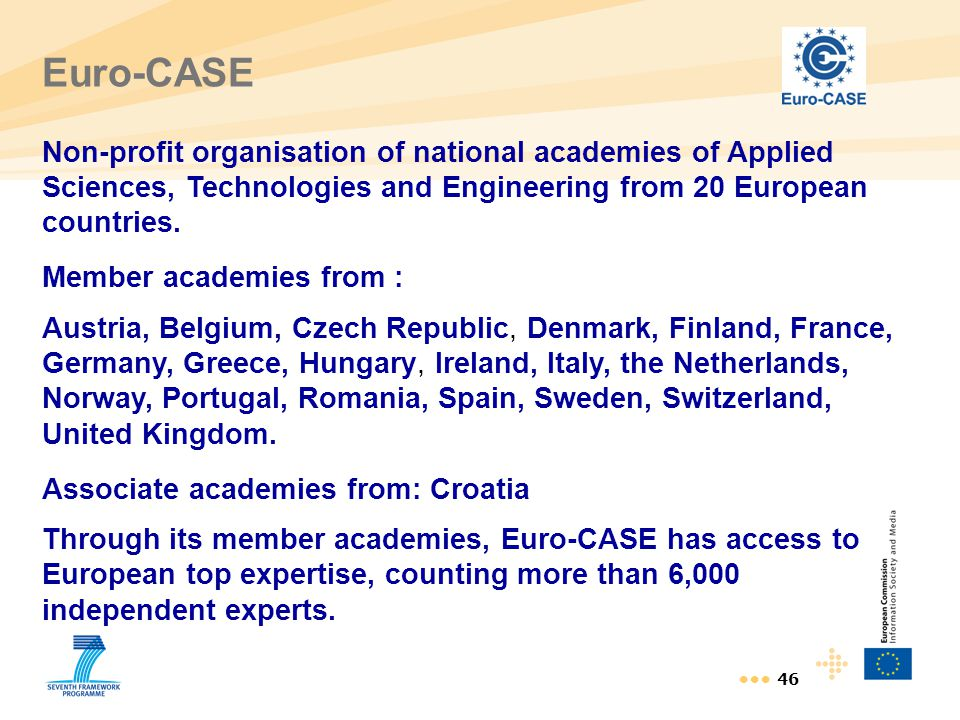 Euro-CASE Non-profit organisation of national academies of Applied Sciences, Technologies and Engineering from 20 European countries.