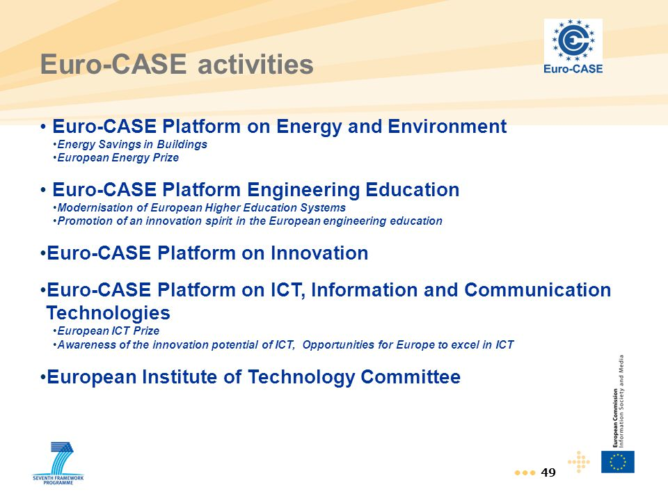 Euro-CASE activities Euro-CASE Platform on Energy and Environment