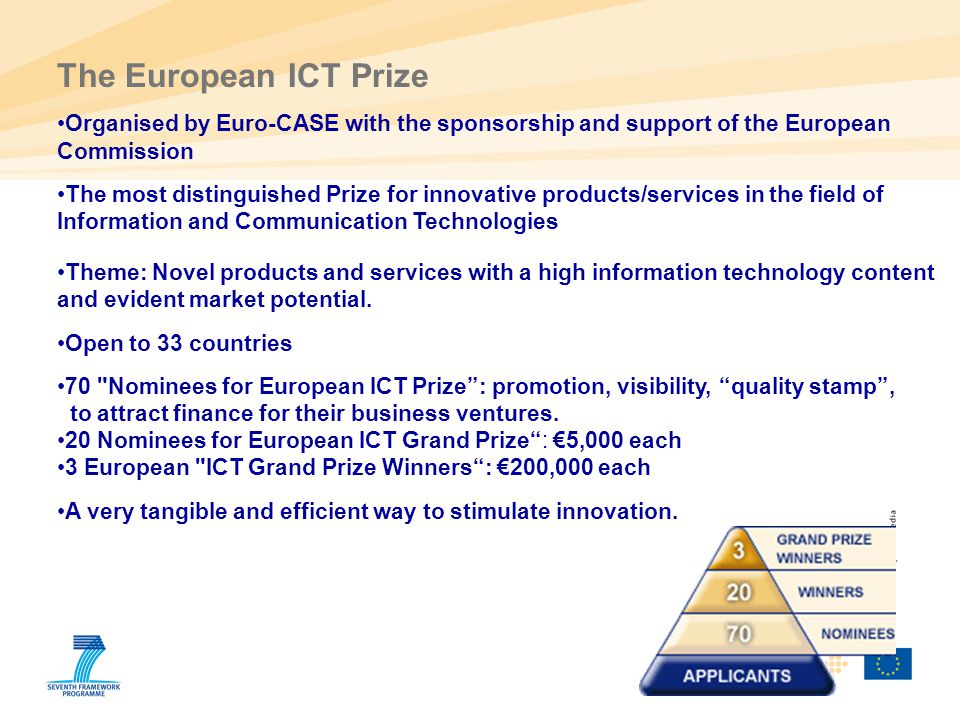 The European ICT Prize Organised by Euro-CASE with the sponsorship and support of the European Commission.