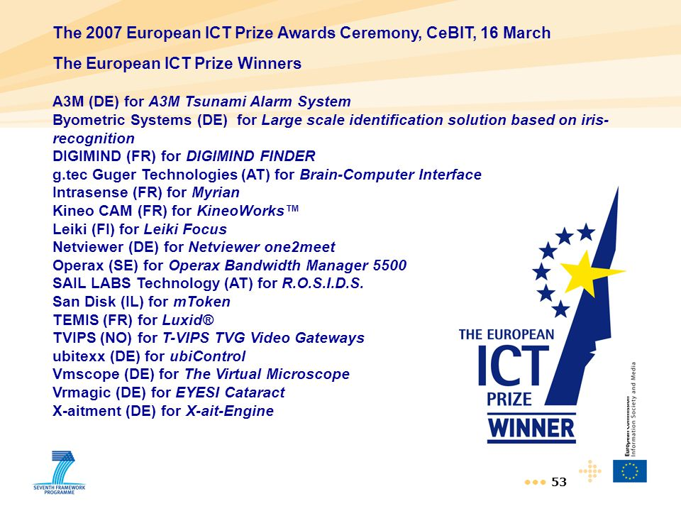 The 2007 European ICT Prize Awards Ceremony, CeBIT, 16 March
