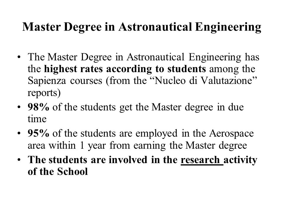 Master Degree in Astronautical Engineering
