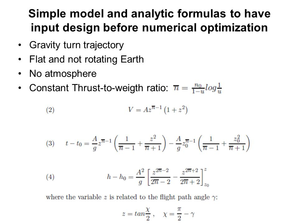 Simple model and analytic formulas to have input design before numerical optimization
