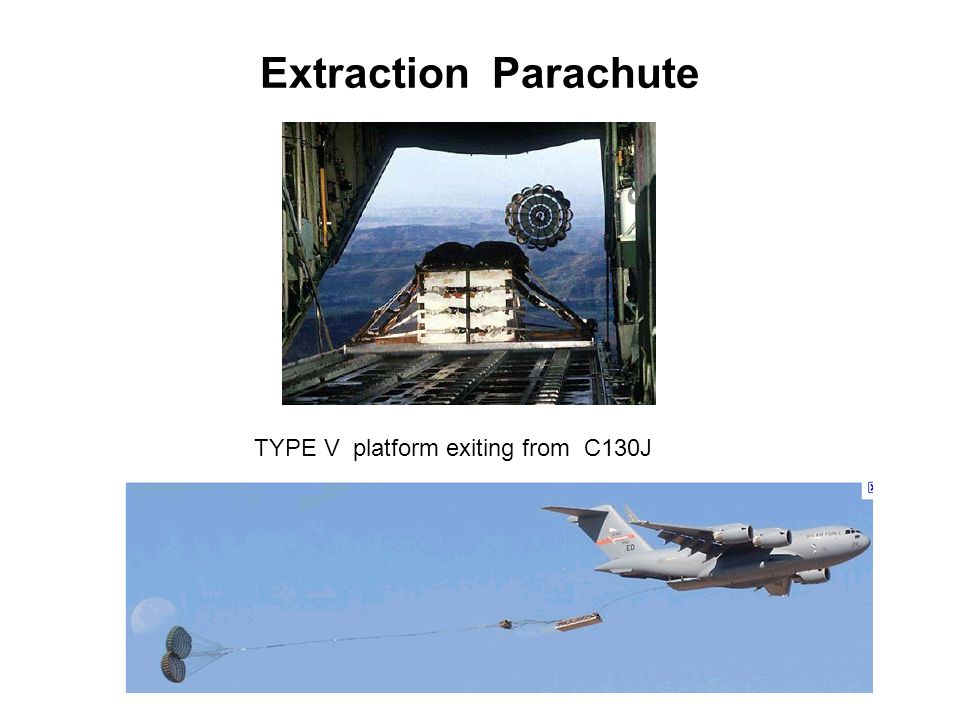 Extraction Parachute TYPE V platform exiting from C130J