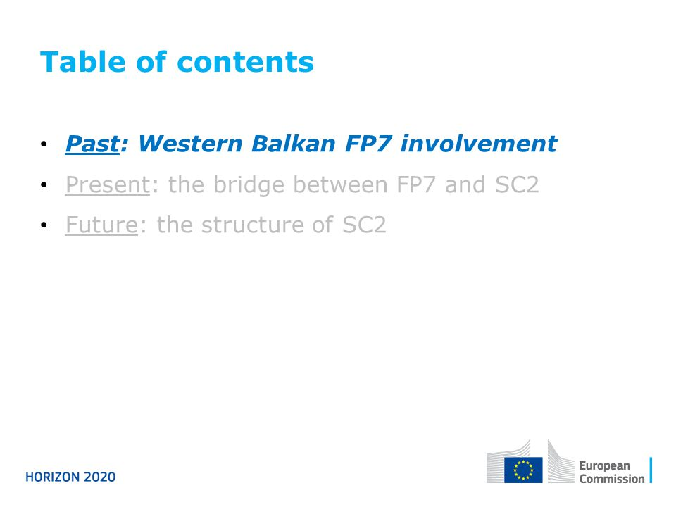 Table of contents Past: Western Balkan FP7 involvement
