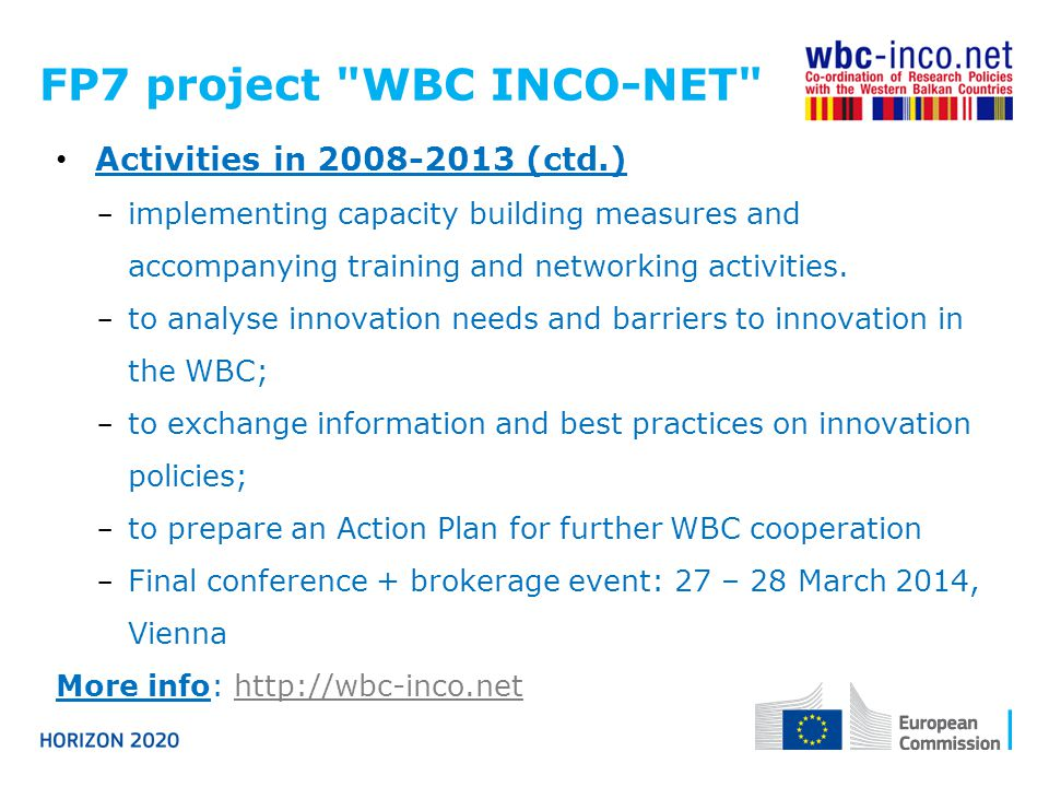 FP7 project WBC INCO-NET