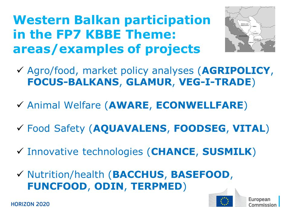 Western Balkan participation in the FP7 KBBE Theme: areas/examples of projects