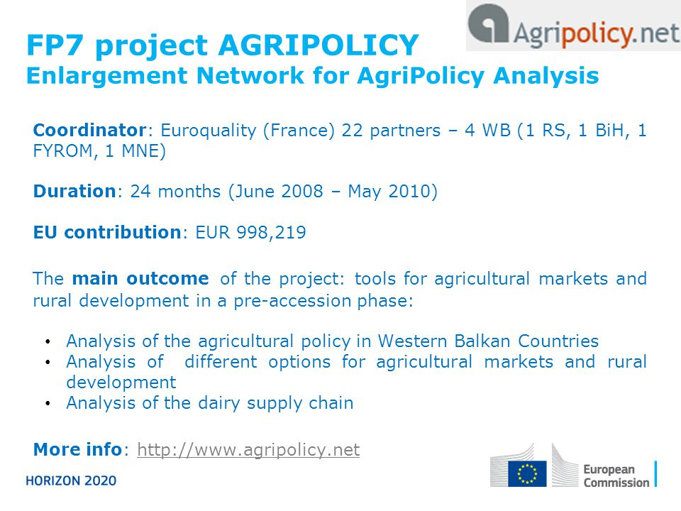 FP7 project AGRIPOLICY Enlargement Network for AgriPolicy Analysis