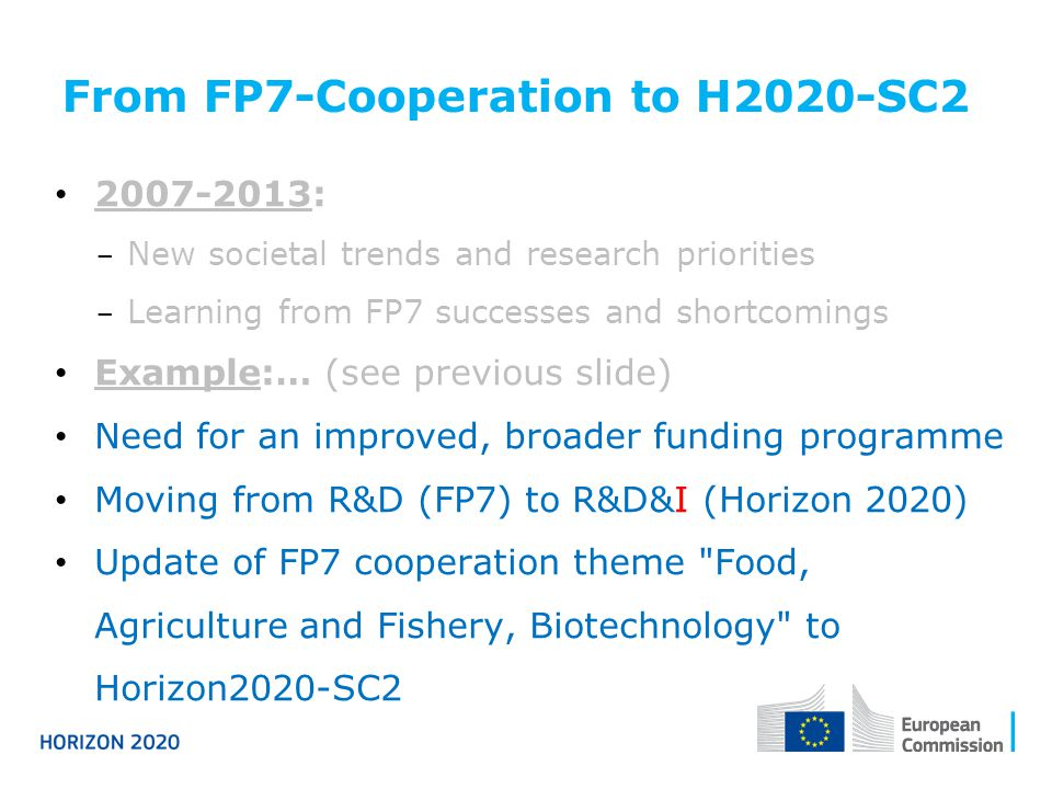 From FP7-Cooperation to H2020-SC2