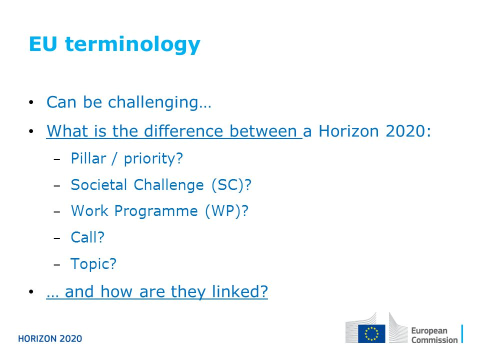 EU terminology Can be challenging…