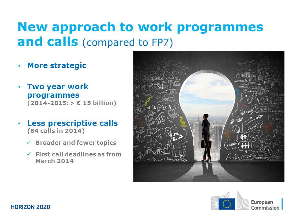 New approach to work programmes and calls (compared to FP7)