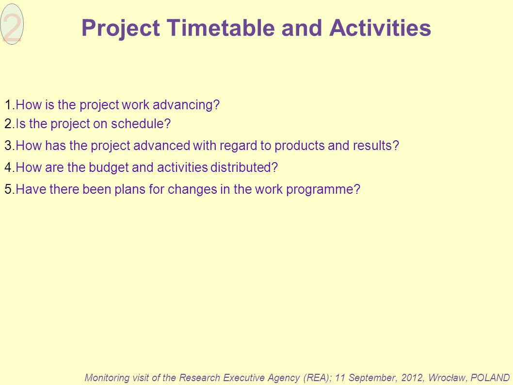 Project Timetable and Activities