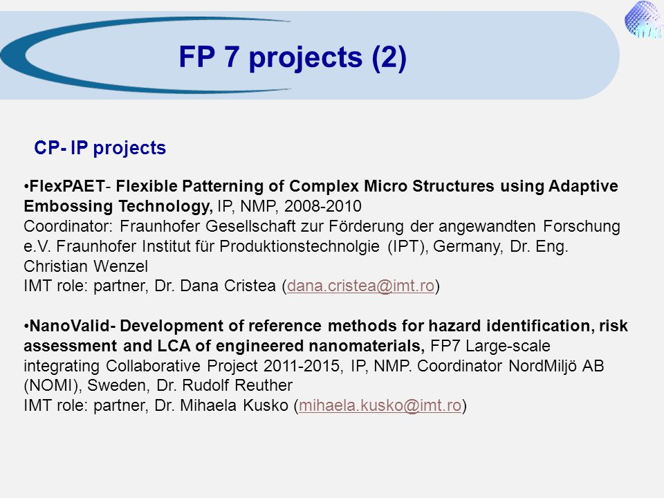 FP 7 projects (2) CP- IP projects