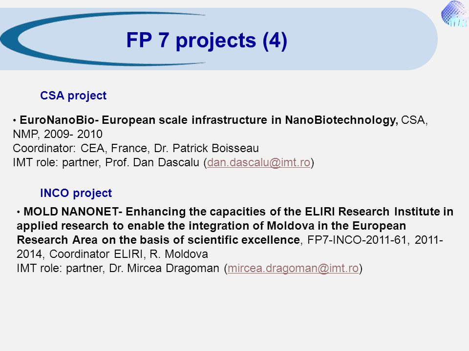 FP 7 projects (4) CSA project INCO project
