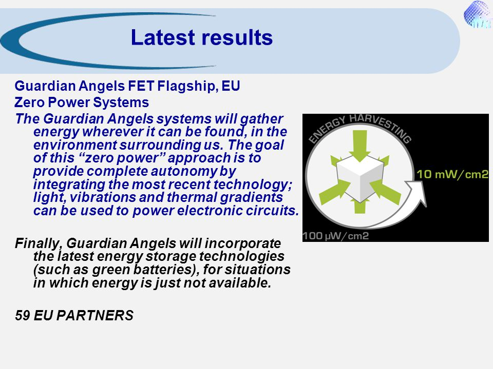 Latest results Guardian Angels FET Flagship, EU Zero Power Systems